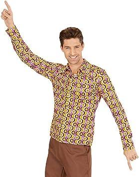 Camisa Disco Hombre Outfit para Fiesta de los años 70 / Rosa-Amarillo XXL (ES 56) / Camisa