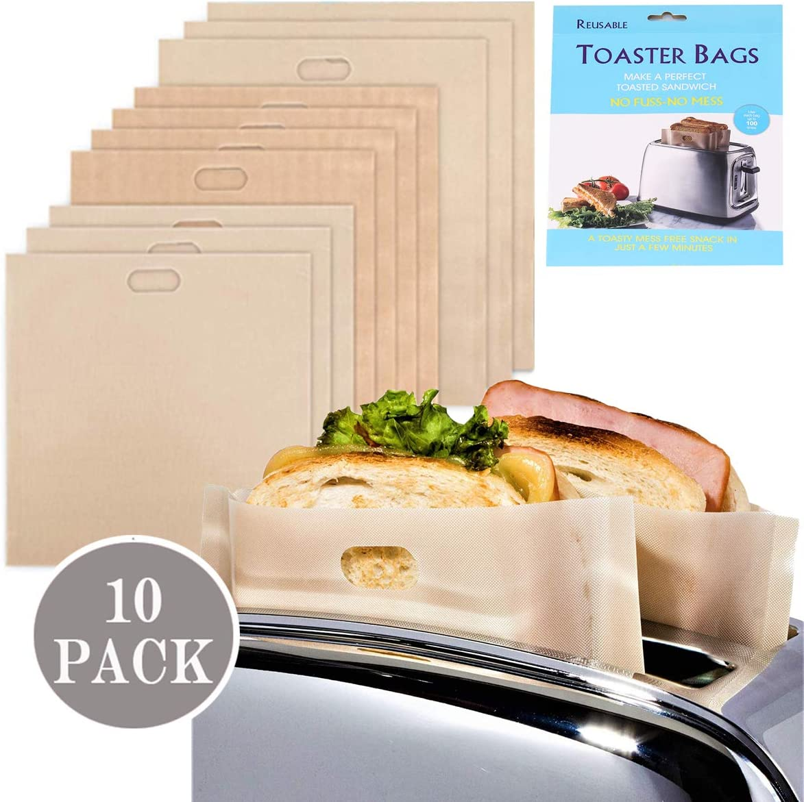 Toastie Bags for Toaster Grill Bags Non-Stick Washable Teflon Heat Resistant Toaster Bag Reusable Gluten Free Snacks Storage Bags for Toast Sandwich, Suit for Microwave Grill Toaster Reuse 100 Times