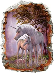 Unicorn Horse Forset Wall Stickers 3d Break The Wall Effect Picture Setting Sticker Decorative Kids Nursery Decor Decal
