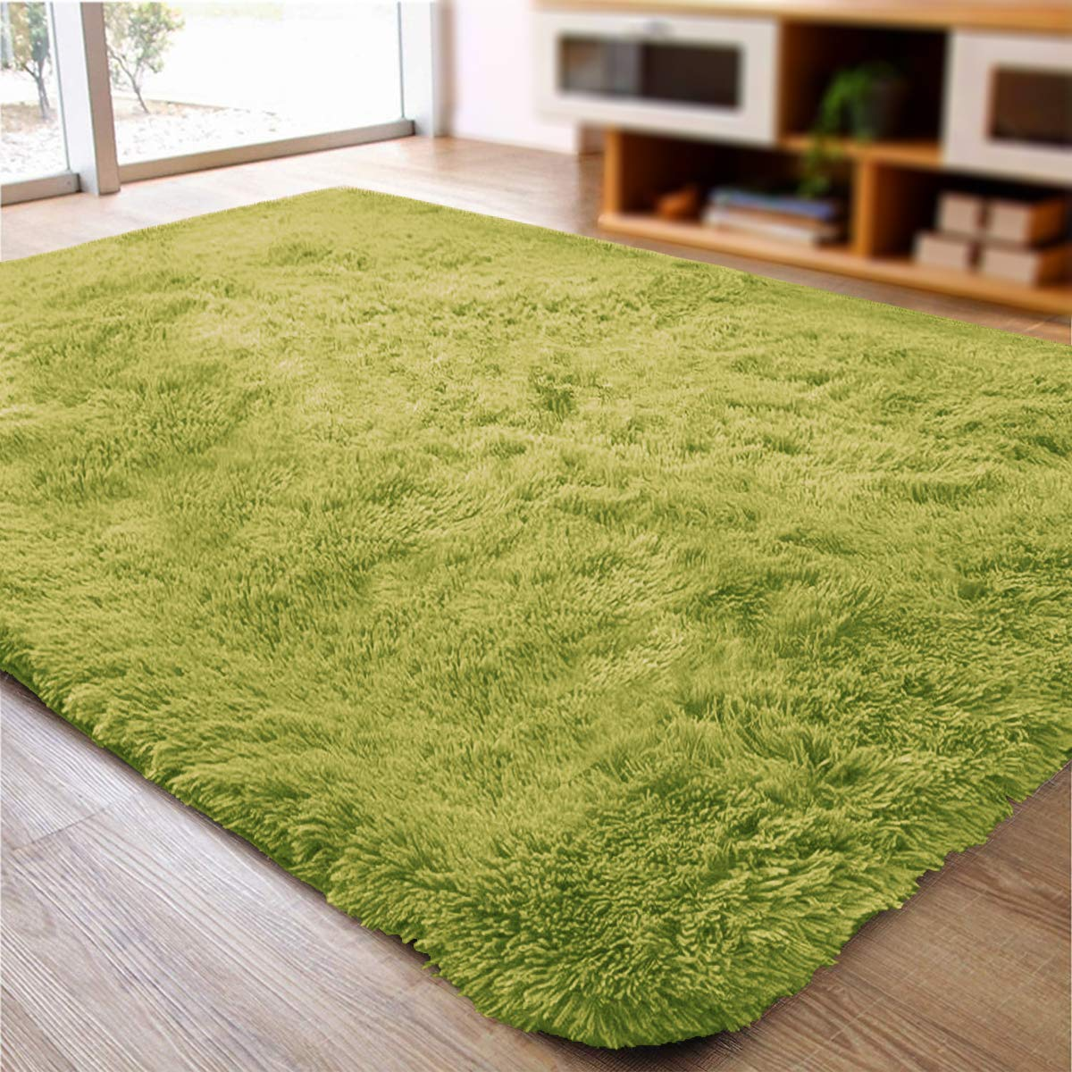 ACTCUT Super Soft Indoor Modern Shag Area Silky Smooth Fur Rugs Fluffy Rugs Anti-Skid Shaggy Area Rug Dining Room Home Bedroom Carpet Floor Mat 2.5 Feet X 5 Feet (Green)