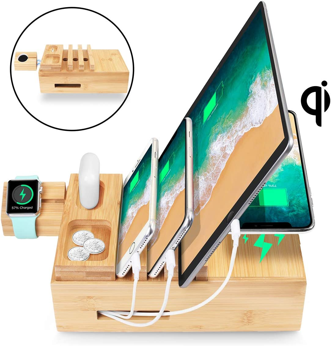AICase Estación de Carga USB Cargador de Escritorio Multifunción de 5 Puertos con Qi Cargador Inalambrico Base de Carga para iPhone Samsungs Huawei iPods Airpods Iwatch y Kindle