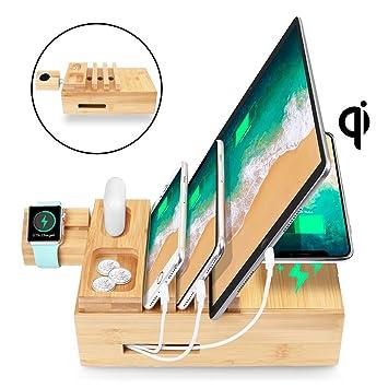 AICase Estación de Carga USB Cargador de Escritorio Multifunción de 5 Puertos con Qi Cargador Inalambrico Base de Carga para iPhone Samsungs Huawei ...