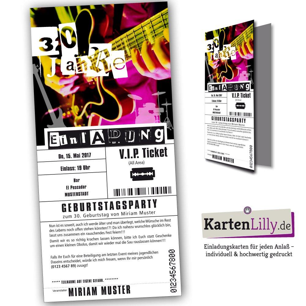 Einladung VIP Ticket eintrittskarten Geburtstag (25 Stück) konzert ...