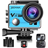 JEEMAK 4K Action Cam 16MP WiFi Waterproof Sports Camera 170° Ultra Wide Angle Len with SONY Sensor,Remote Control 2 Pcs Rechargeable Batteries and Portable Package Blue