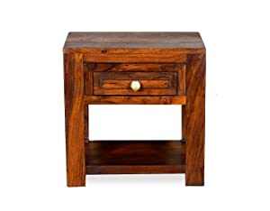 Indusriva Wooden Bedside Table