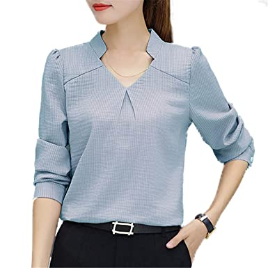 OUXIANGJU New Women Work Shirt Striped V-Neck Blouses Ladies Fashion Spring Shirt Long Sleeve