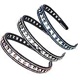 3 Pcs Rhinestone Crystal Hard Headbands, Double Row Non-Slip Teeth Stretchy Plastic Headband, Comfortably and sparkly Hair Ba