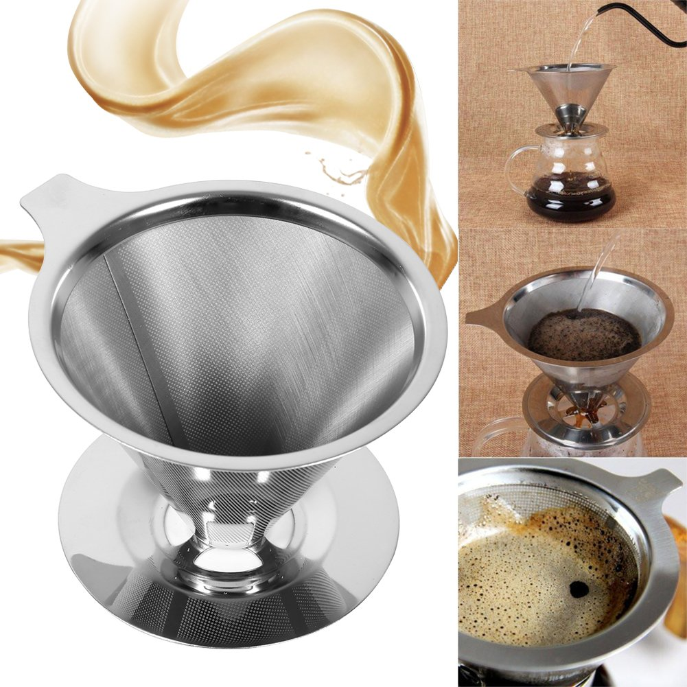 Delaman Coffee Mesh Filter Paperless Pour Over Coffee Maker Strainer Stainless Steel Reusable Drip Cone Single Cup Stand Brewer