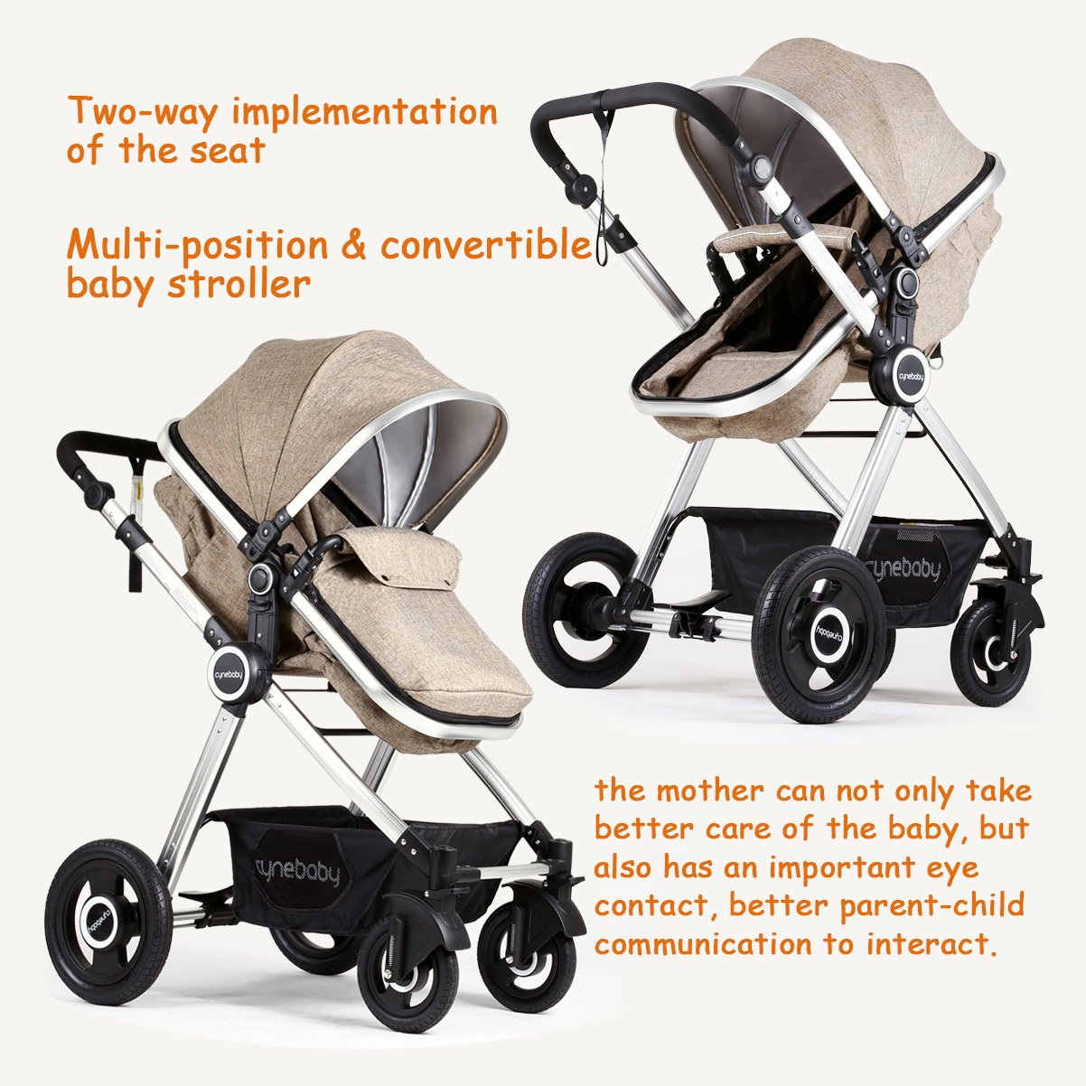 Infant Toddler Stroller Folding Convertible Carriage Infant Anti-Shock High View Luxury Baby Stroller Newborn Pram Stroller Pushchair Stroller for Babies(Light Camel) by Cynebaby (Image #2)
