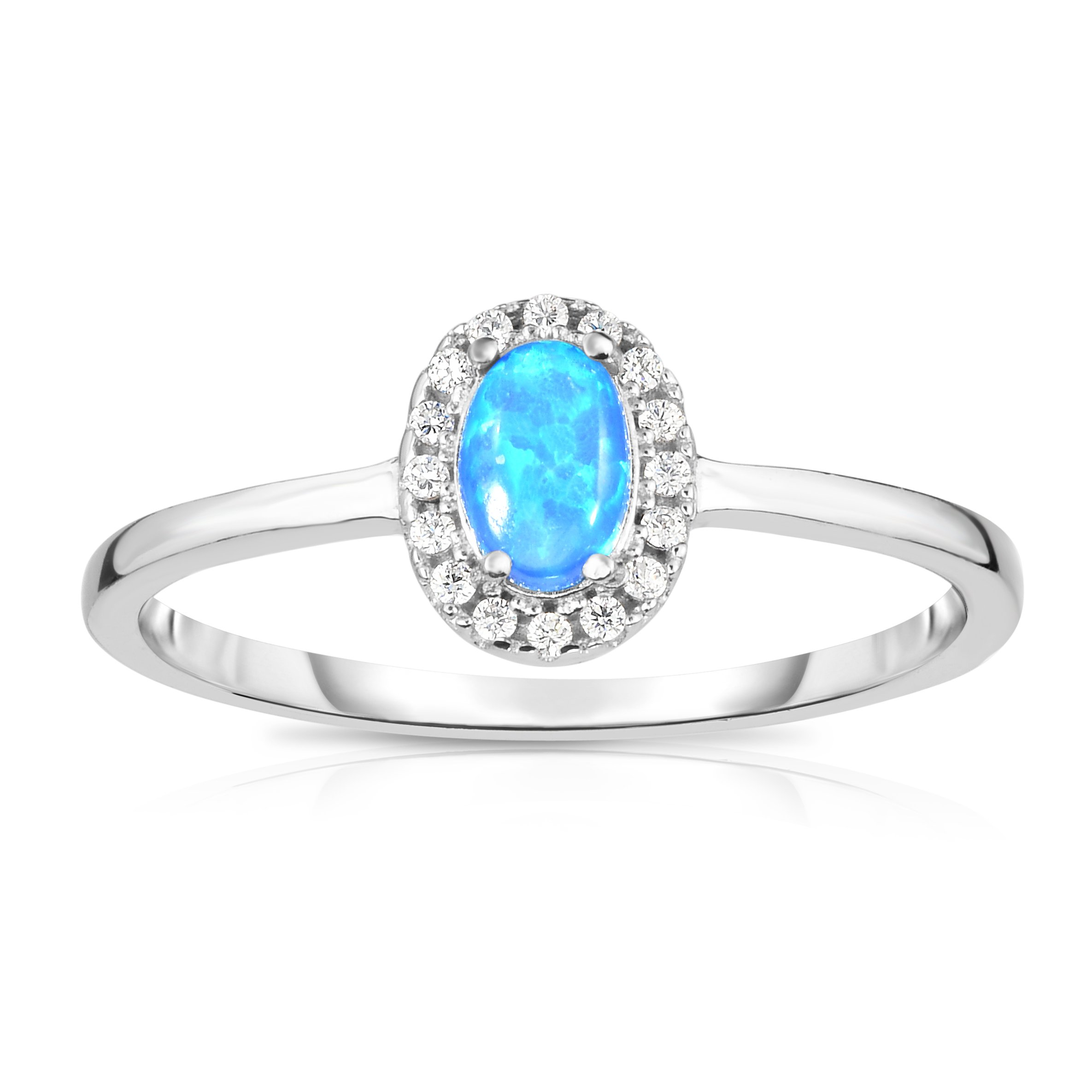 Solid Sterling Silver Synthetic Opal with White Cubic Zirconia Halo Jacket Princess Diana Designer Ring. (6)