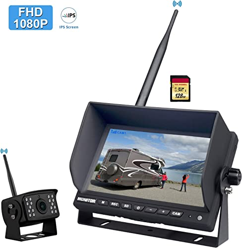 FHD 1080P Digital Wireless Backup Camera System for RV Truck Trailer Pickup, CAMONS 7 HD LED Monitor 2 or 4 Split, Built-in DVR and 145 AHD IR Night Vision IP69 Waterproof Rear Front Camera