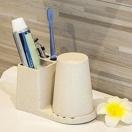 Lavar Set trigo trigo soporte Copa titular pasta de dientes de limpieza multifuncional soporte para cepillos