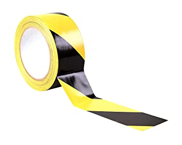 50mm x 33m 2 Roll Hazard Warning Tape Black//Yellow