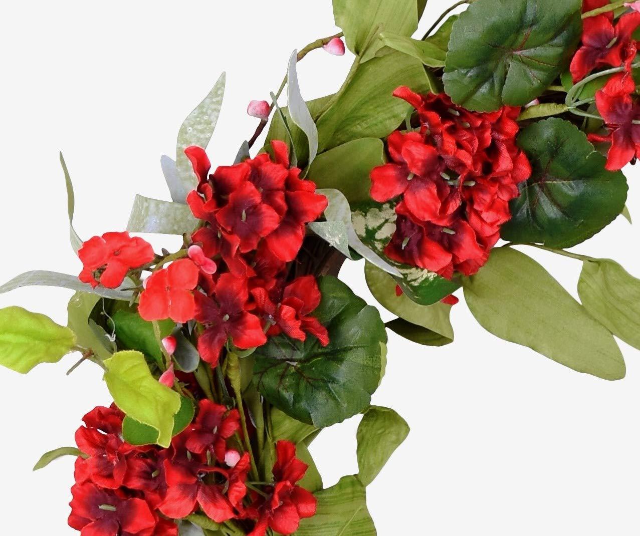 Ten Waterloo 22 Inch Red Artificial Geranium Wreath on Natural Twig Base