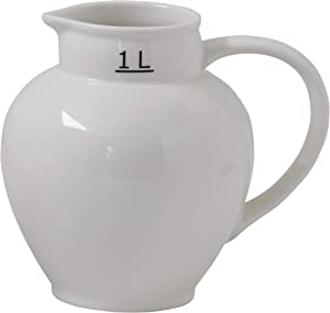 Creative Co-Op Large White Vintage Reproduction Ceramic Pitcher