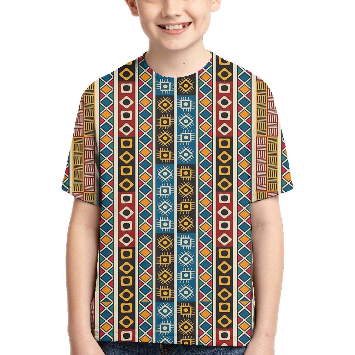 Boys Short Sleeve Ethnic African Tribal Decor Motifs Art 3D Printed Graphic T-Shirt Kids Teenagers Tee Shirts