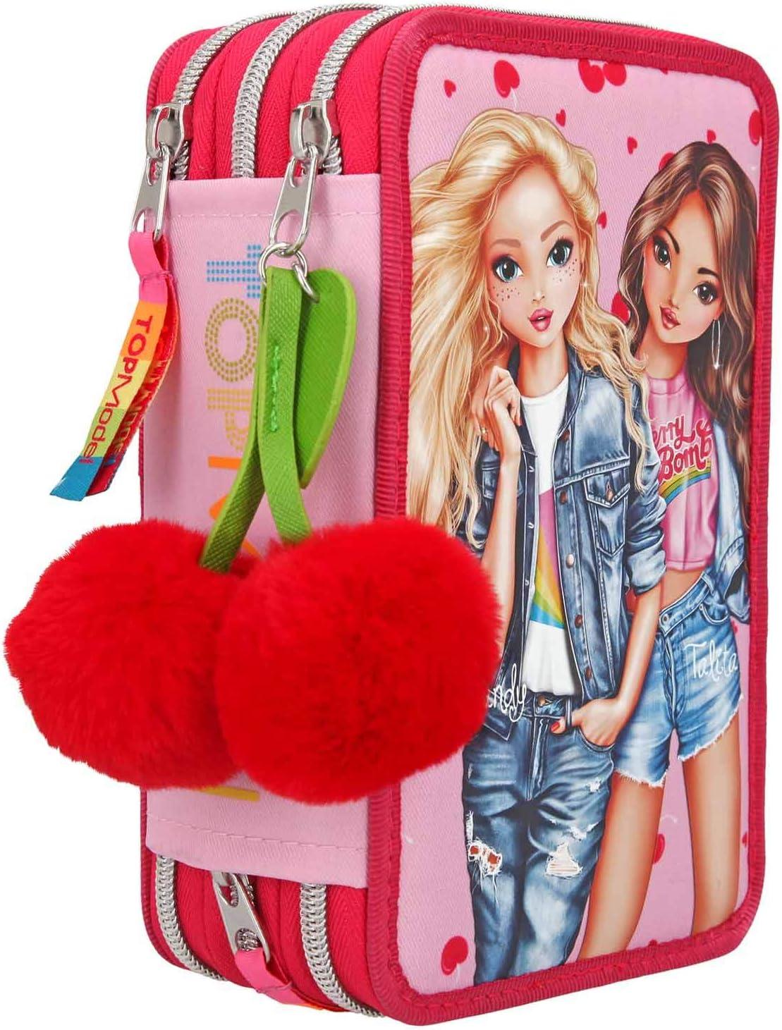 Estuche Depesche 10991 con 3 cremalleras y lápices de Lyra, topModel Cherry Bomb, rosa, aprox. 7,5 x 13 x 20 cm.: Amazon.es: Juguetes y juegos