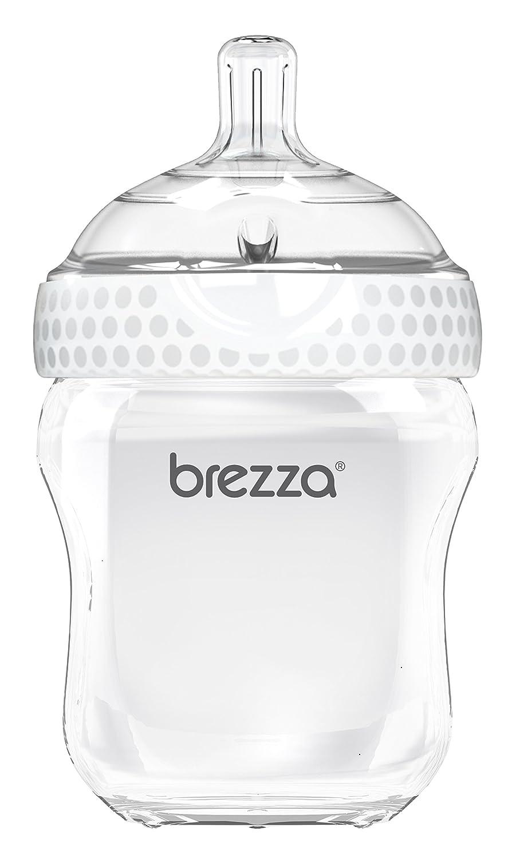 ふた付きのベビーブレザツーピースナチュラル哺乳瓶 - エルゴノミクス、ワイドネックデザインはそれをきれいにするのが最も簡単になります - モダンルック - アンチコリック - BPAフリープラスチック - ホワイト - 9オンス - 1ボトル   B01N19XSDM