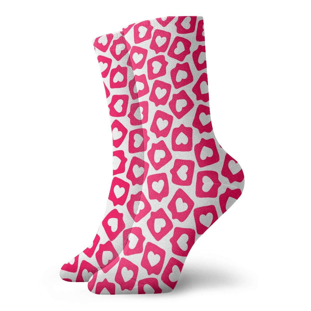 Women Men Social Media Sticker Pattern Athletic Crew Socks
