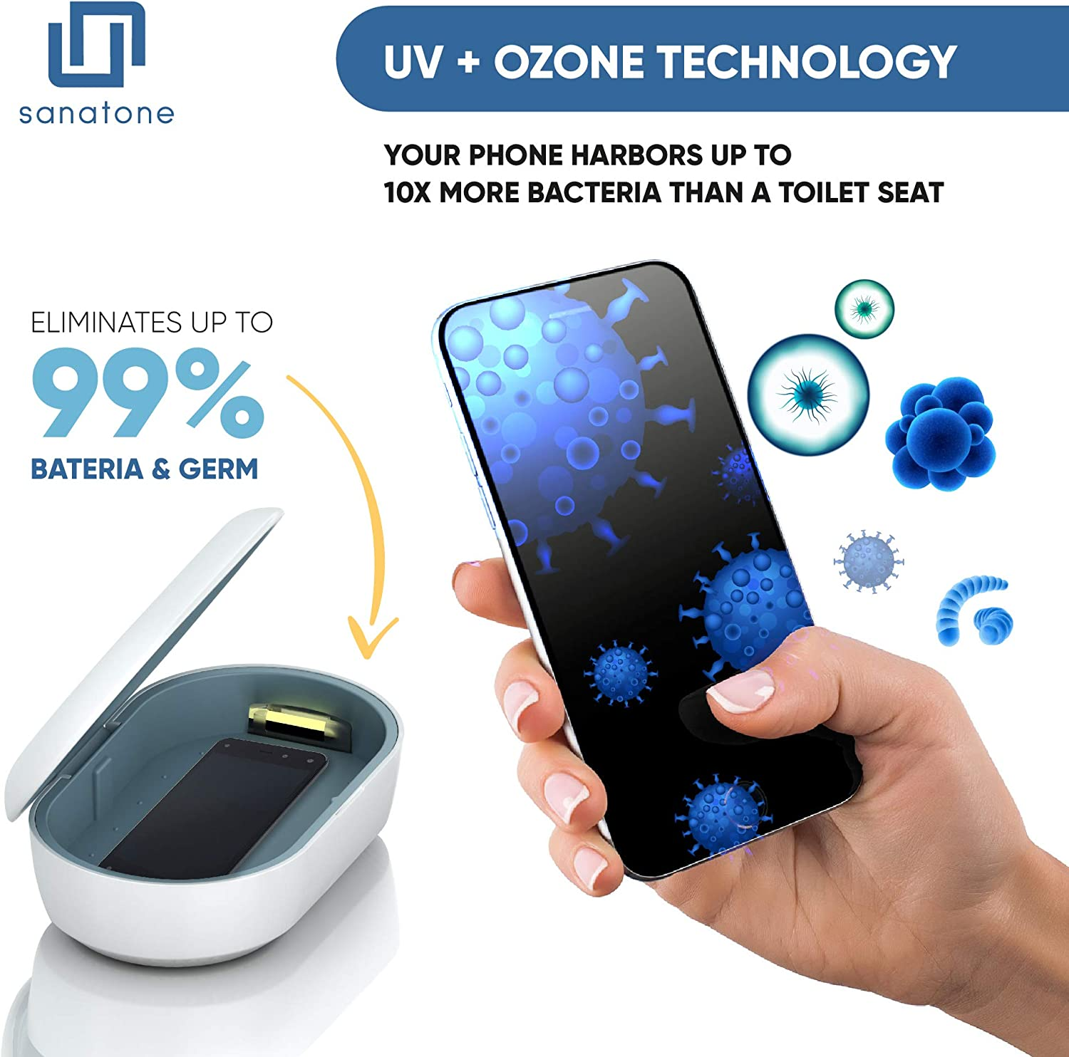 SANATONE 3-in-1 UV Ozone Phone Sanitizer Box Wireless Charger for iPhone and Android Heat Includes Aromatherapy Ultraviolet Smartphone Cleaner Eliminates up to 99.9/% of Germs Without Chemicals
