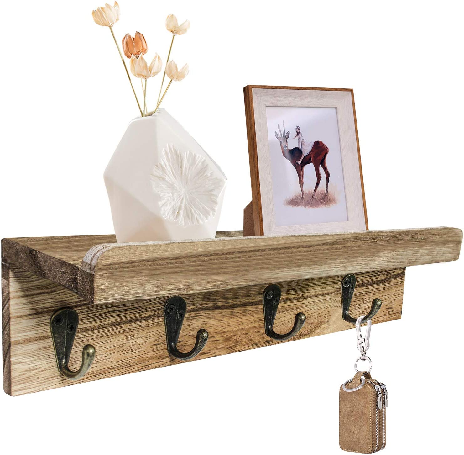 Rustic Entryway Wood Shelves with Hooks, Key Hooks for Wall, Home Decor Wall Mounted Key Rack with Shelf, Small Key Shelf Storage and Organizer for Office, Entryway, Bathroom, Kitchen