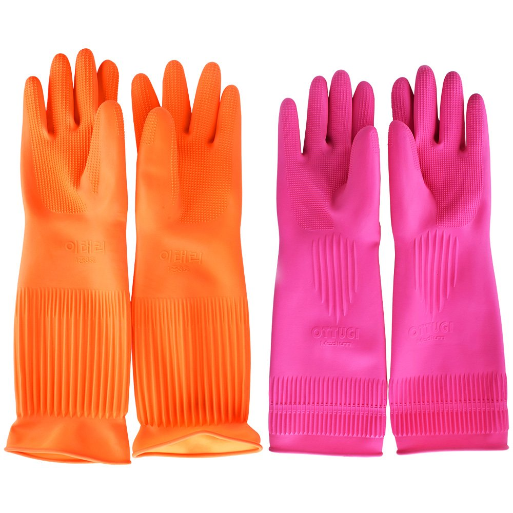 Flower Sea9 Latex Rubber Gloves for Clean Sense Dish washing, Housework, Laundry Supplies, (2 x Pairs)