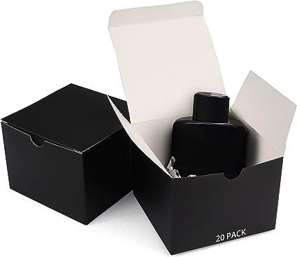 Belle Vous Cajas kraft Negro (Pack de 20) - (12x12x9cm) Kraft Papel Cajas Regalo - Autoensamblables Caja Presentación - Caja de Regalo de Propuesta de Dama de Honor para Chocolates, Boda Fiestas: