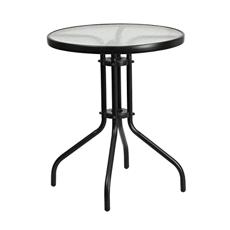 Amazon Com Flash Furniture 23 75 Round Tempered Glass Metal Table