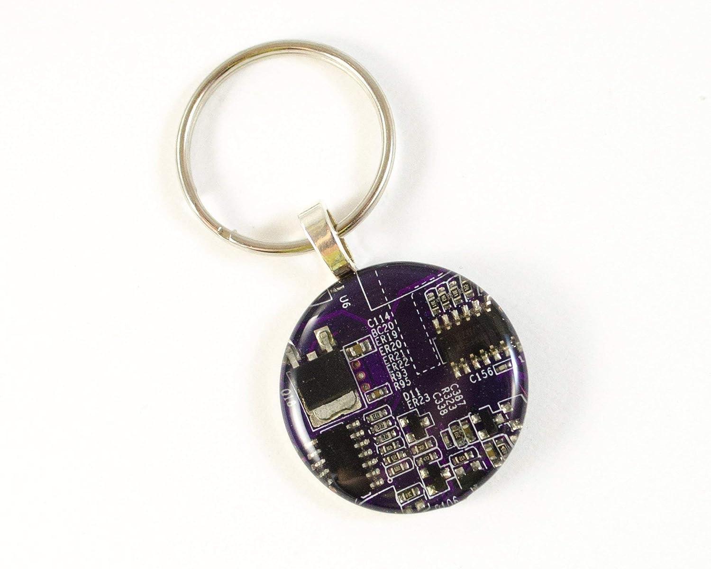Purple Circuit Board Keychain