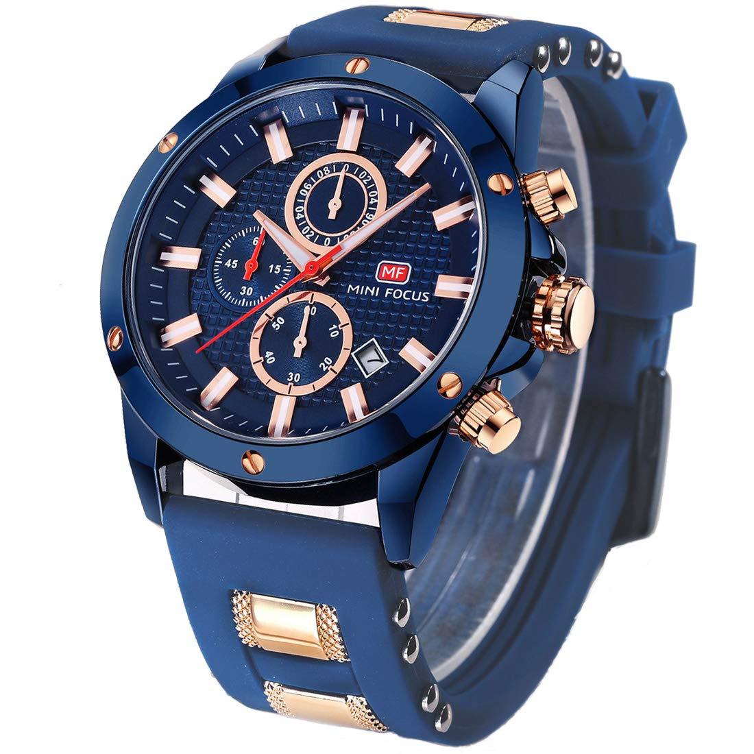 Men's Business Quartz Watches, Waterproof Silicone Band Chronograph Sport Wrist Watch (Blue)
