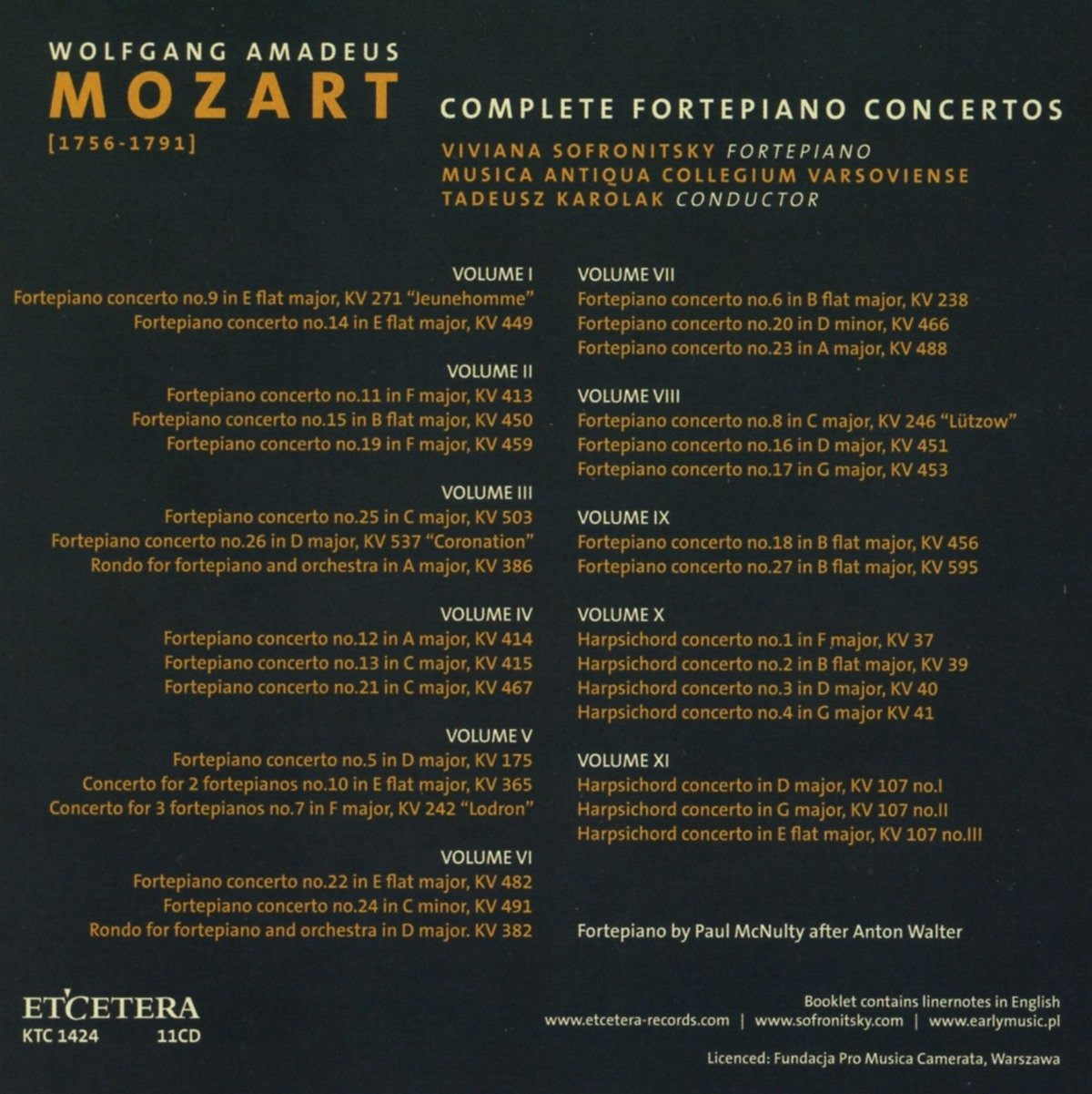 Intégrale des Concertos pour piano: Wolfgang Amadeus Mozart, Tadeusz Karolak: Amazon.es: Música