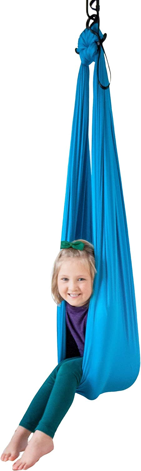 Harkla Indoor Therapy Swing for Kids - Sensory Swing Great for Autism, ADHD, and SPD - Snuggle Swing has a Calming Effect on Children with Sensory Needs - Hardware Included with Indoor Swing Chair