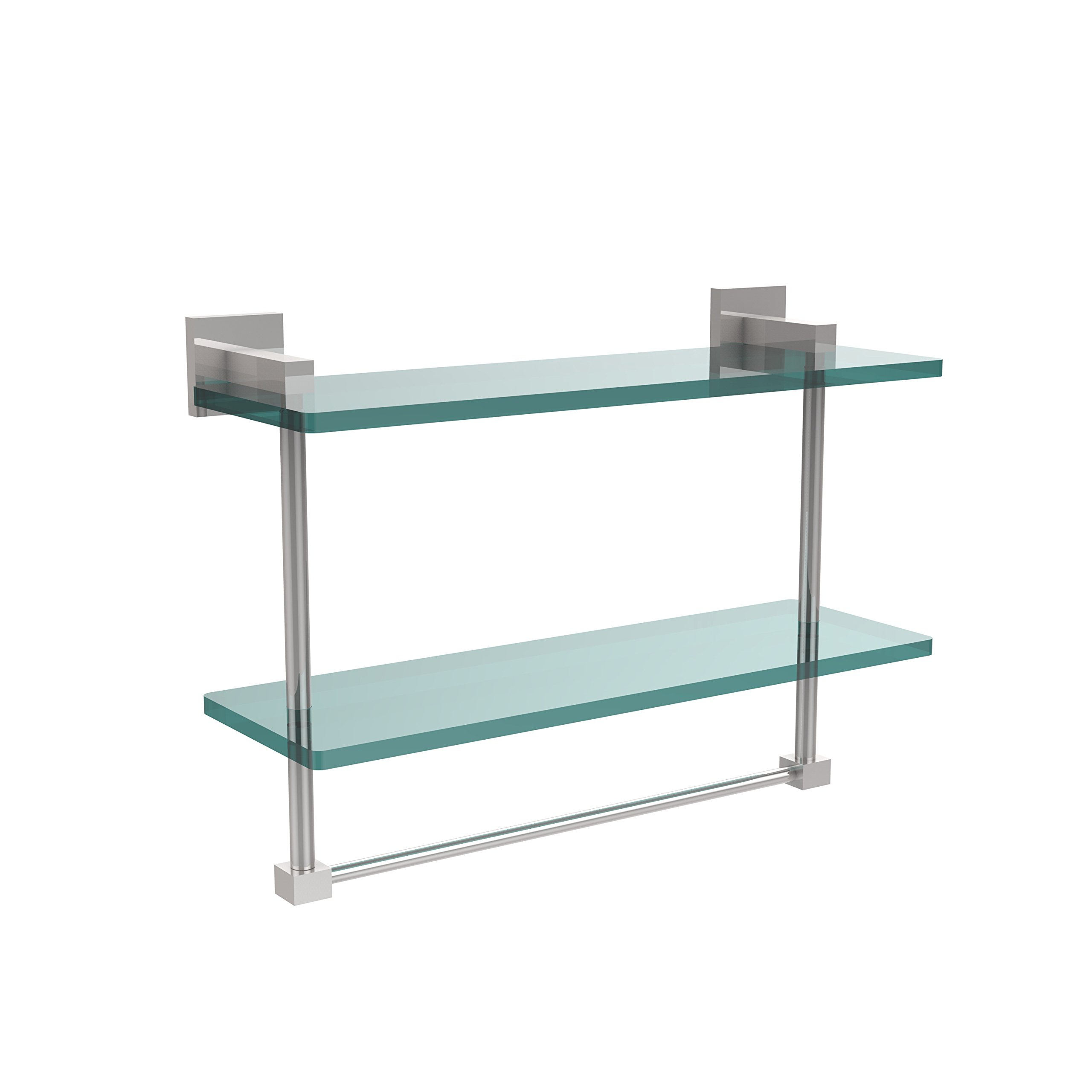 Allld|#Allied Brass MT-2-16TB-PC Montero Collection 16 Inch Two Tiered Glass Shelf with Integrated Towel Bar,