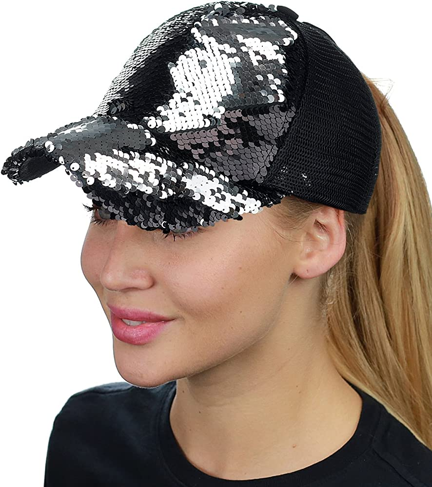 69830e7b8 Ponycap Messy Bun Ponytail Reversible Magic Sequin Adjustable Baseball Cap
