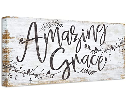Amazon Com Amazing Grace Large Canvas Wall Art Stretched On A Heavy Wood Frame Ready To Hang Perfect Dining And Living Room Decor Makes A Great Housewarming Gift Under 50 Handmade