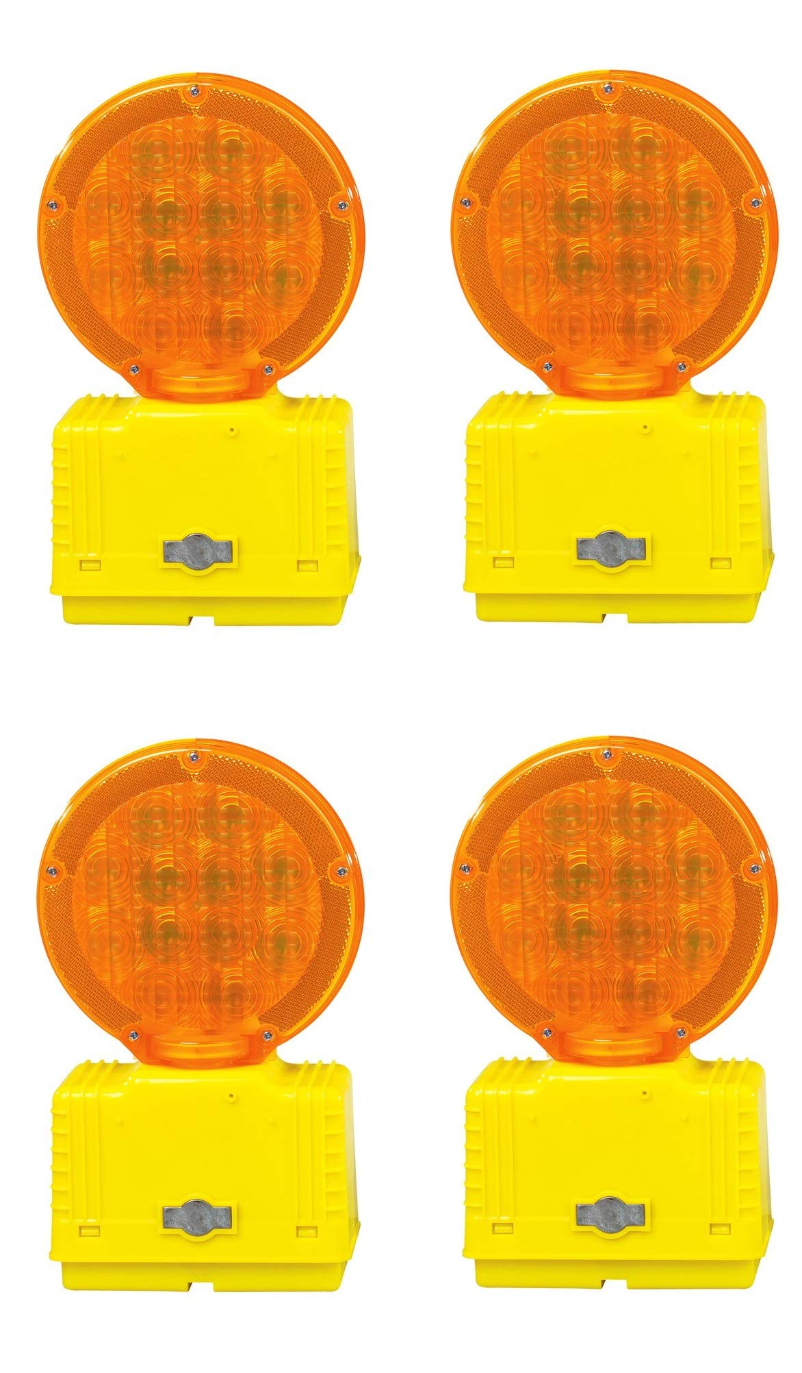 Cortina 03-10-3WAYDC Polycarbonate LED Barricade Light with Photocell, 6 VDC, Amber (Pack of 4)