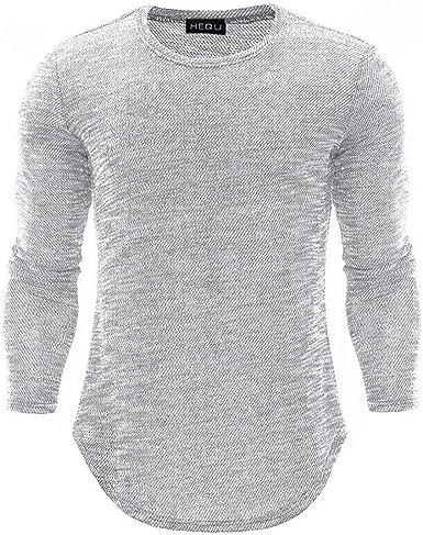 Cuello Redondo para Estilo Camiseta De Simple Larga Hombre Manga Slim Fit Top Camisa Básica Blusa Informal Tops Tops Color Puro Otoño: Amazon.es: Ropa y accesorios