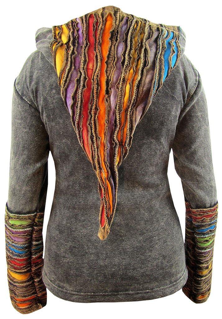 Little Kathmandu Women Cotton Ribs Psychedelic Pointed Hood Jacket