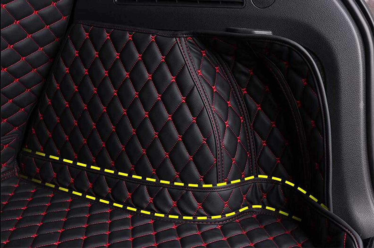 Bonus-Mats Custom Fit All-Weather Full Coverage Waterproof Car Cargo Liner Trunk Mat for Jeep Renegade 2015-2019 with Net Block Black with Black Stitching
