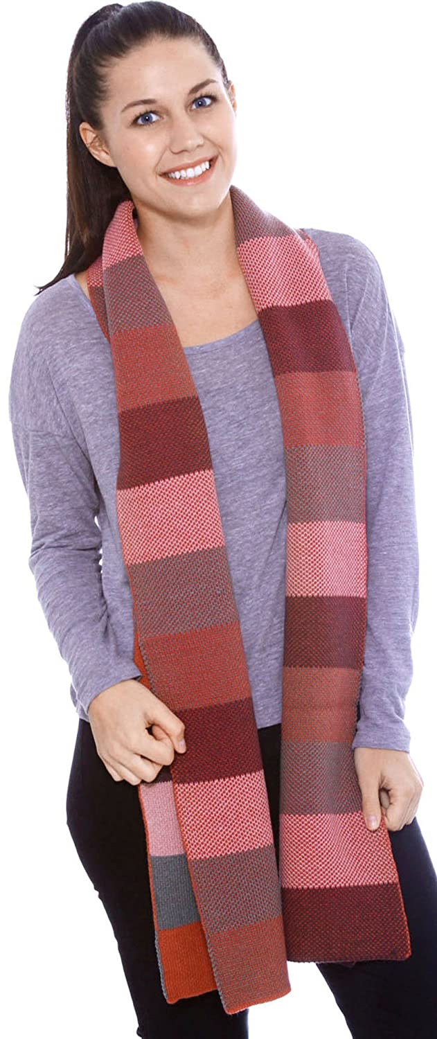 Simplicity Women's Winter Multi-Color Patterned Reversible Knit Scarf Black & White 88-B15419