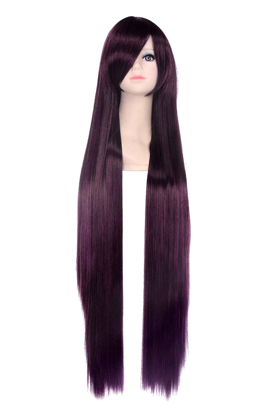 Icoser 100cm Long Straight Synthetic Hair Anime Cosplay Party Wigs for Women (Dark Purple)