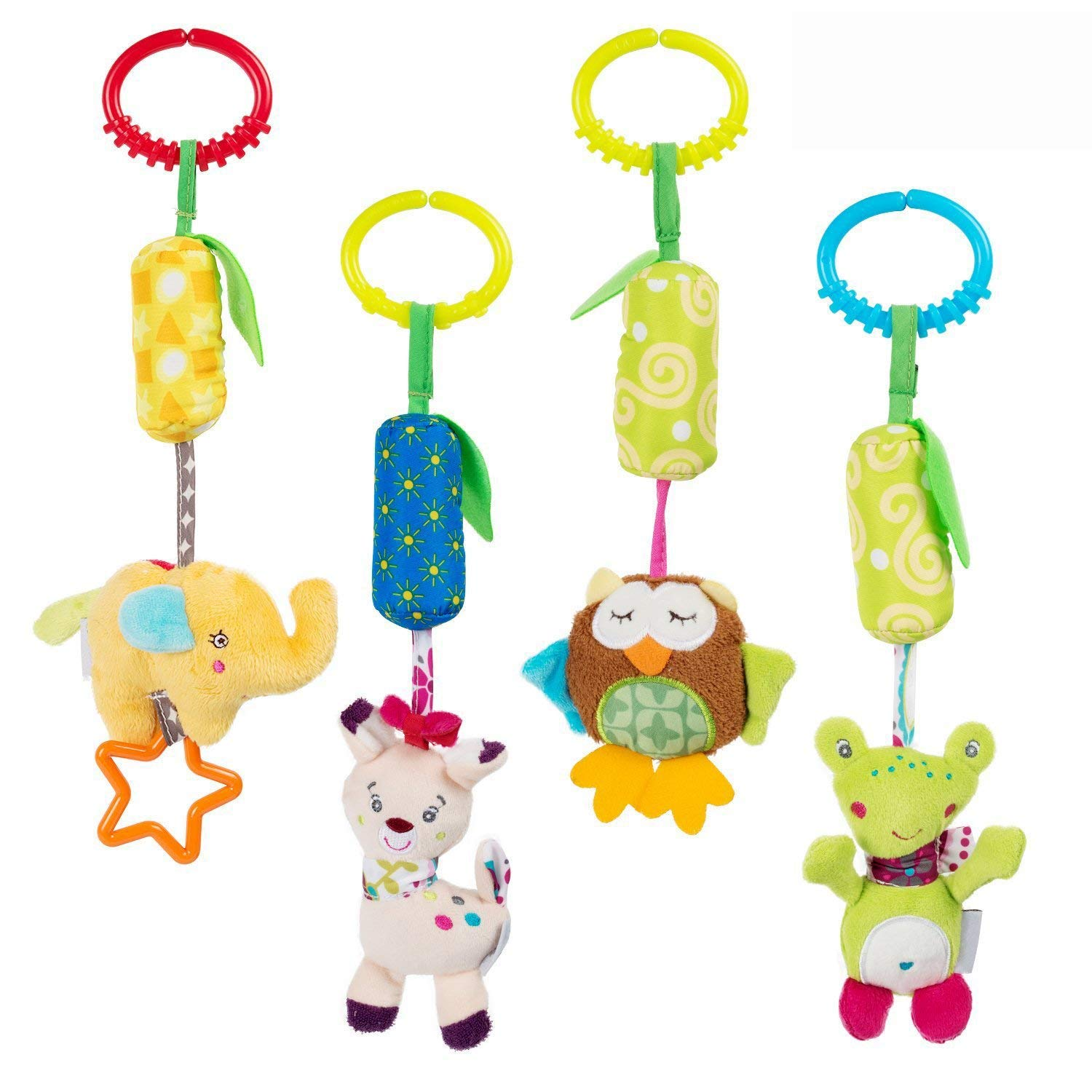Daisy 4 Packs Infant Baby Plush Adorable Animal Car Seat Hanging Rattle Toy Kids Stroller Crib Pram Ornament Bells Puppet with Wind Chime and Squeak Daisy' s dream
