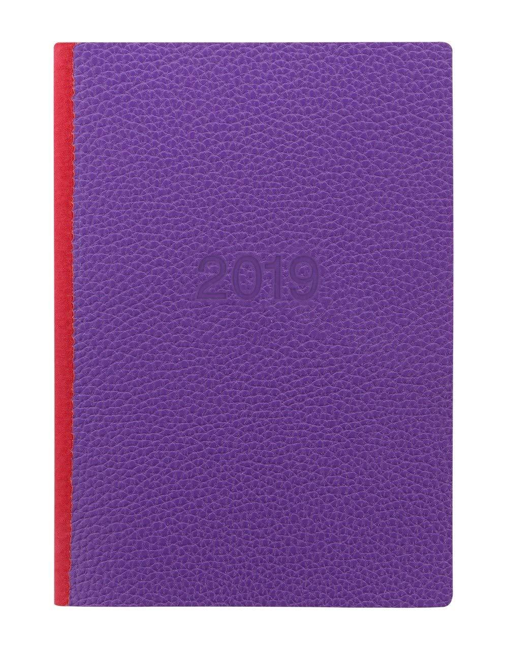 Letts Two Tone Agenda scolaire journalier A5 2019 Purple Red 1 semaine sur 2 pages Filofax