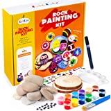 BOKIN Rock Painting Kit,River Stones/Palette/ Round Wood/Transfer Stickers/Acrylic Pen/Brushes Arts Crafts Supplies for Kids and Adults,Mandala Rock Painting,Hide and Seek Gift