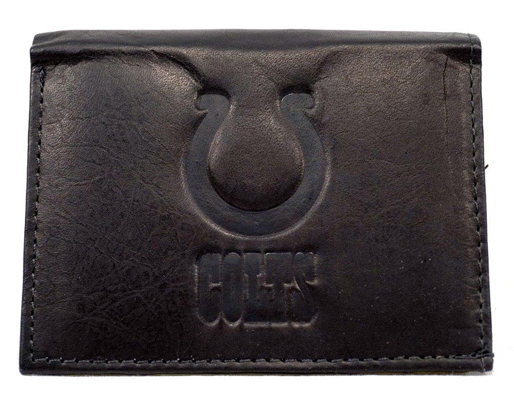 Black Rico NFL Mens NFL Tri-Fold Leather Wallet