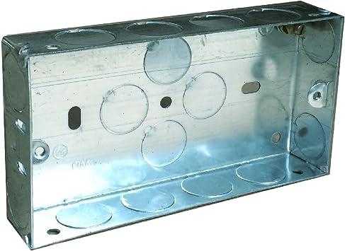 Doble caja metálica 25 mm pared empotrable 2/interruptor de toma eléctrica: Amazon.es: Bricolaje y herramientas