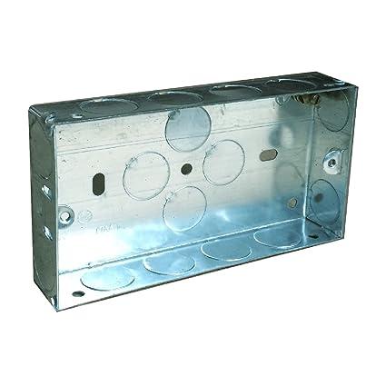 Doble caja metálica 25 mm pared empotrable 2/interruptor de toma eléctrica
