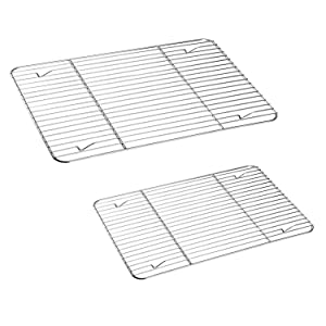 TeamFar Cooling Rack, Baking Roasting Rack Stainless Steel for Baking Sheet Oven Pan, Healthy & Rust Free, Mirror Finish & Dishwasher Safe - Set of 2(15 inch & 11 inch)
