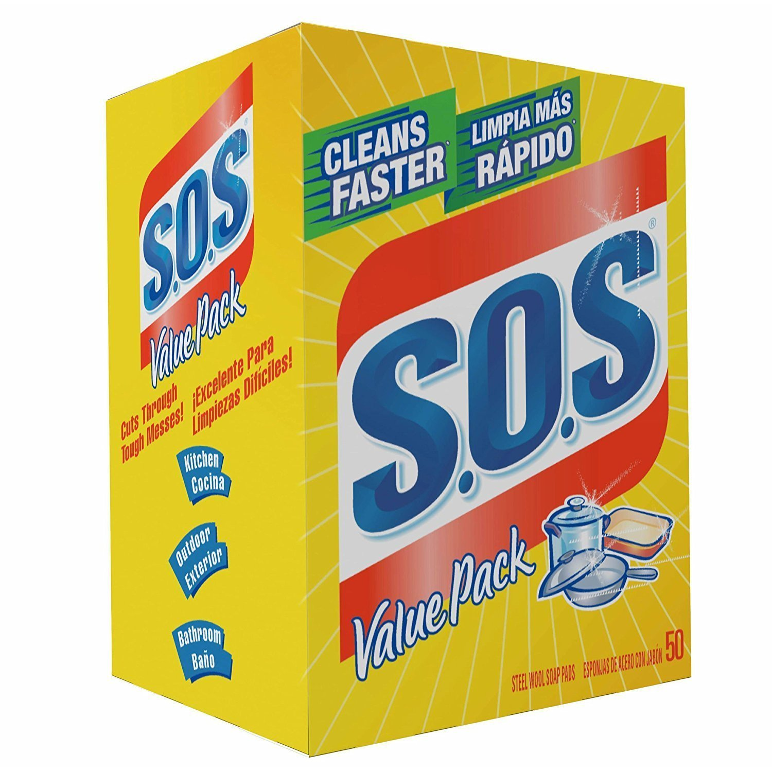 S.O.S 98014 Steel Wool Soap Pad, (1 Pack (50 Count)) by S.O.S