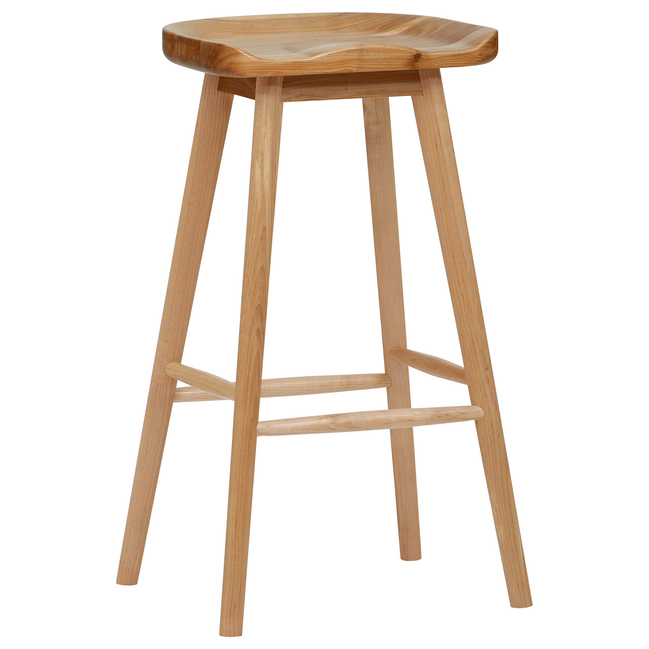 Rivet Modern Wood Counter Barstool, 29.5 Inch Height, Natural Color by Rivet